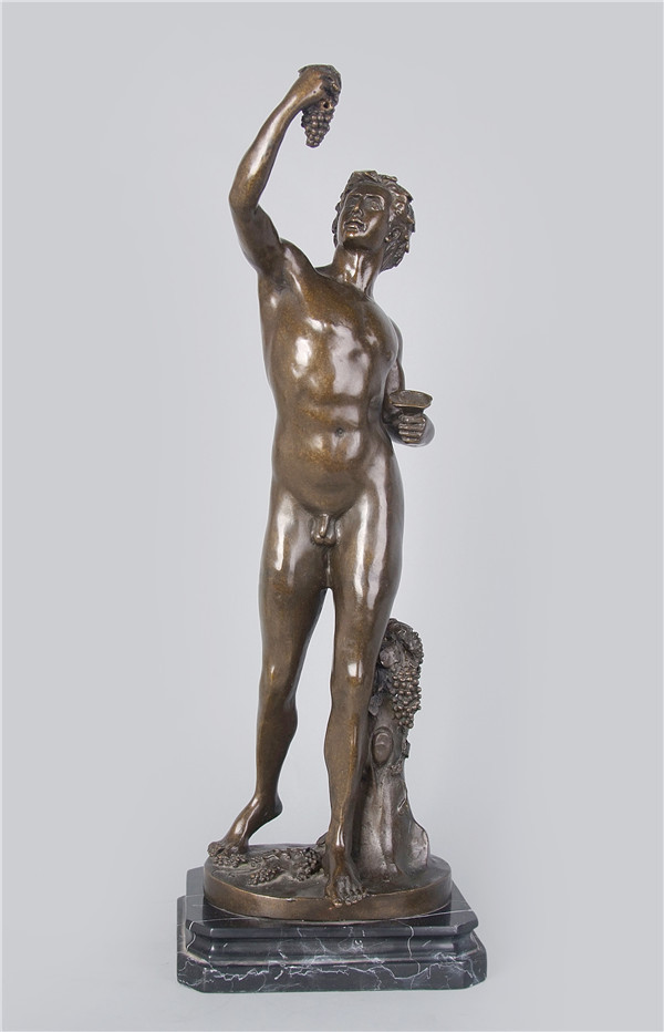 <font><b>Western</b></font> sculpture nude man Athens myth bronze statue Bacchus with grapes figurines fallen angels brass lost wax casting