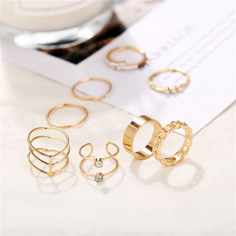 Vintage Gold Color Knuckle Rings Set For Women Geometric Round Twist Weave Finger Ring Female Fashion Jewelry New Wholesale in Rings from Jewelry Accessories