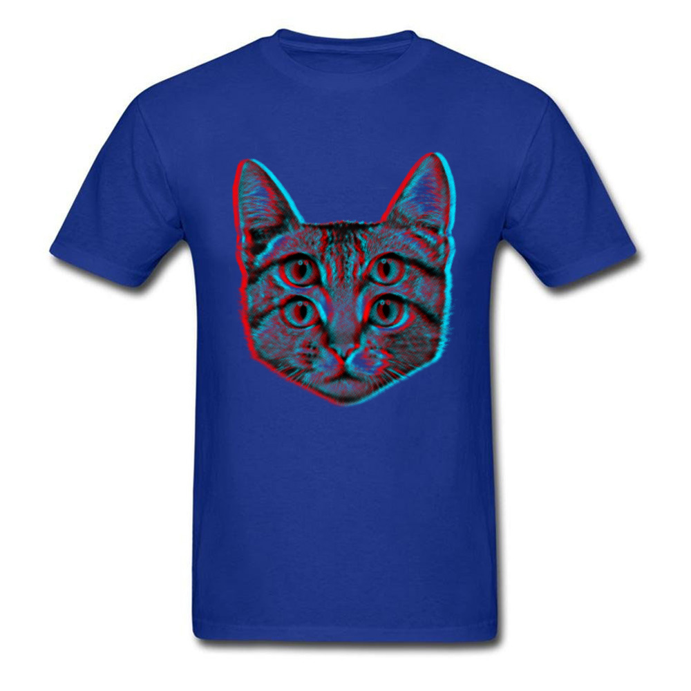 3D Cat Summer/Fall 100% Cotton O-Neck Tops T Shirt Short Sleeve Casual T Shirt 2018 New Funny T Shirt Free Shipping 3D Cat blue