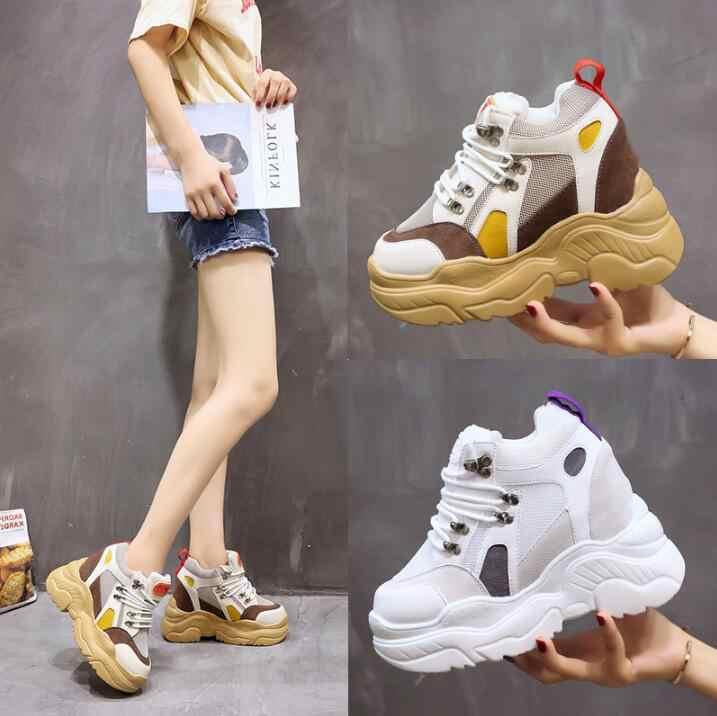 d582c25bb04e Высококачественные Для женщин кроссовки спортивная обувь прогулочная обувь  2018 новые осенние дышащие толстая подошва увеличение кроссовки