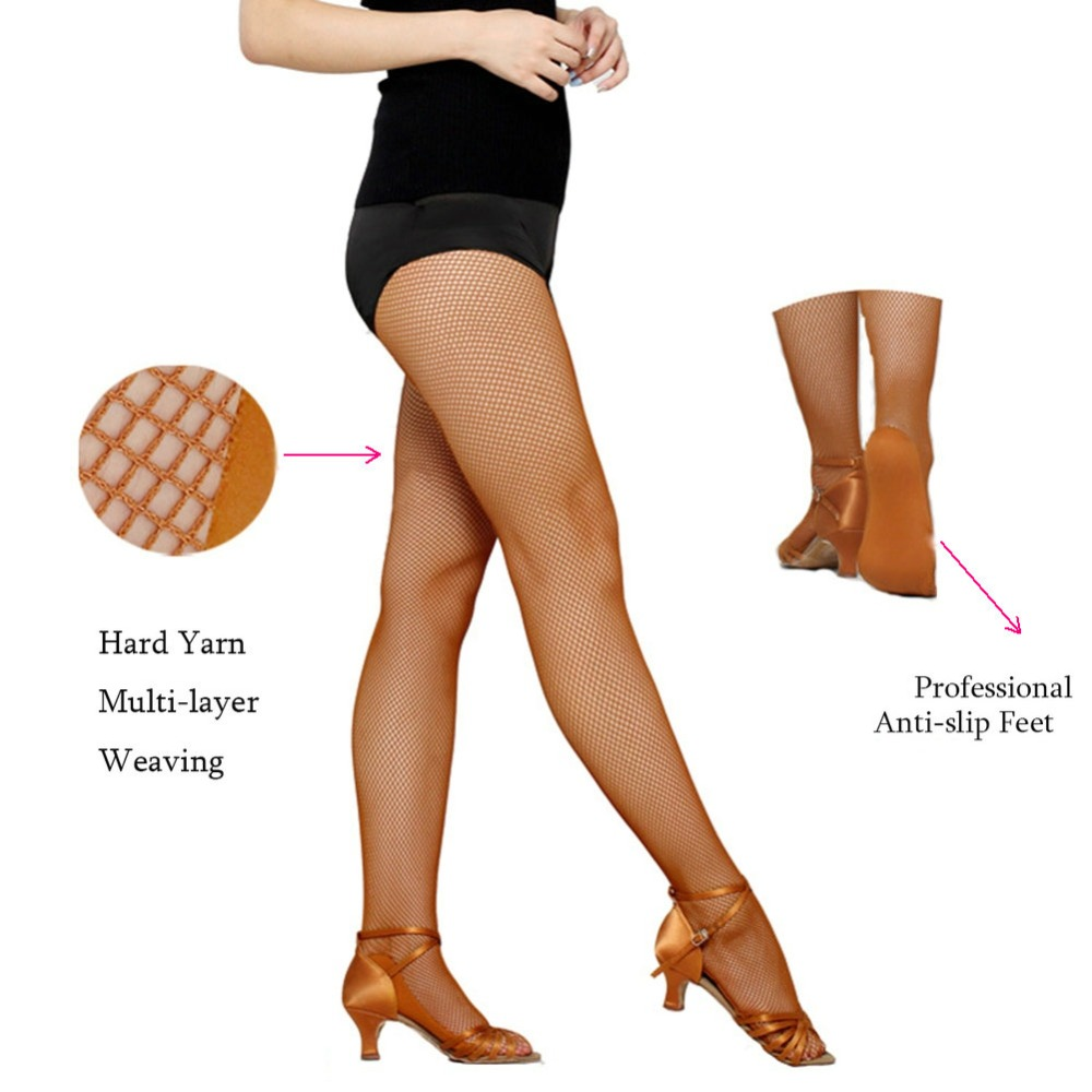 Women Professional Fishnet Tights For Ballroom&Latin Dance Hard Yarn Elastic Latin Dance Stockings Special for the Competition