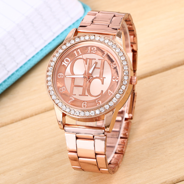 0c3ba0be19b Rose gold watch women luxury brand hot CH men and women watch gift to girls  all stainless steel Rhine jadeite-bearing watch