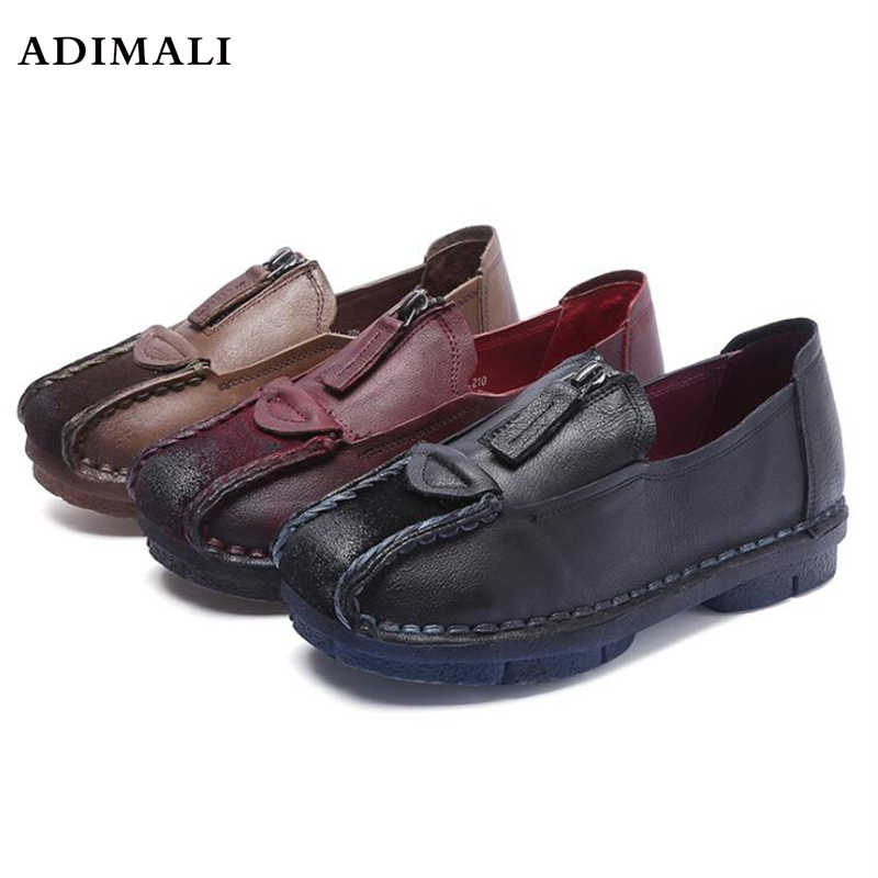 2017 Spring Autumn Shoes Cow Leather Slip On loafers Women Flats loafers Shoes Woman Female large women shoes slip on loafers women flats genuine leather footwear ladies shoes spring autumn flat shoes woman 2018 female flats