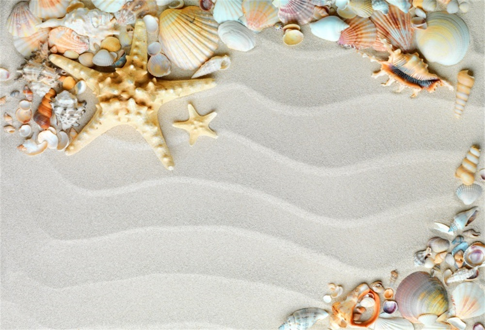 Laeacco Summer Tropical Sand Wave Shell Starfish Party Child Photographic Backgrounds Photography Backdrops For Photo Studio