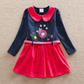 Muchacha al por menor de los niños vistiendo de manga larga correa del vestido de algodón de otoño nuevo fondo tutú bordado dulce de la rodilla-longitud vestido LH6869