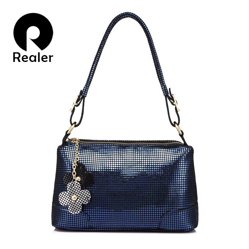 REALER Genuine Leather Shoulder Crossbody Bags Women Small Tote Messenger Bag Ladies Handbags Female Student Top-handle Flap Bag