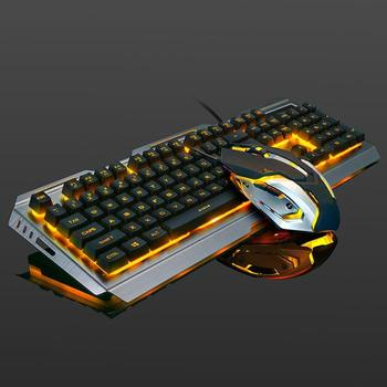VKTECH 104 keys Gaming Mechanical Keyboard Mouse Set USB Wired Ergonomic RGB Backlight Keyboard Mice Combo For Laptop Desktop PC 1