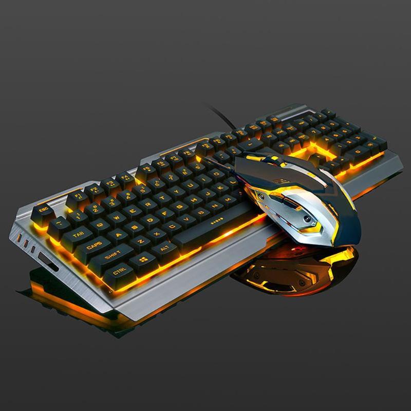 Teclado mecânico com fio usb backlit ergonômico mecânico sentir jogo teclado e mouse conjunto com painel da liga de alumínio