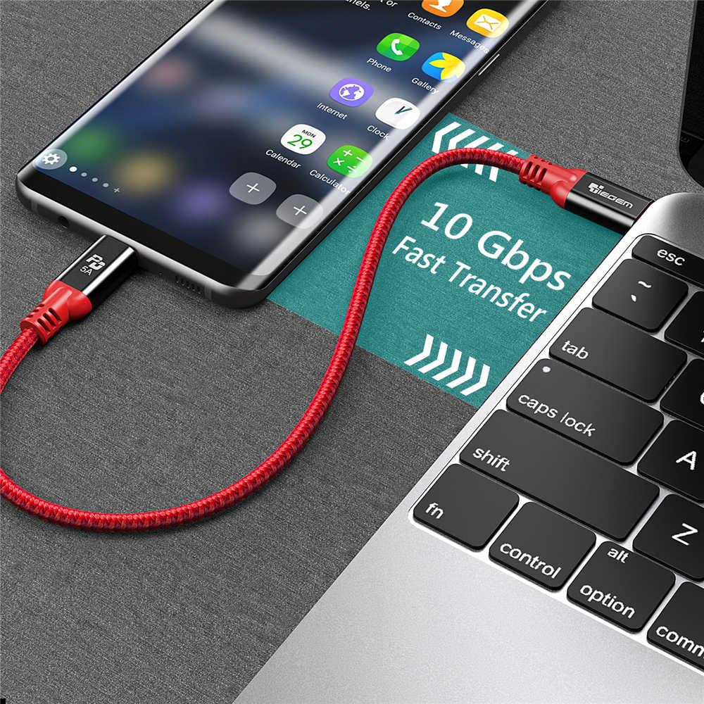 Tiegem USB tipo C 3.1 macho a tipo C cable macho USB-C entrega de potencia cargador rápido PD cable para macBook Pro Google pixel 2 S8 S9