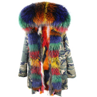 Women Winter Fur Coat Jackets Real Colorful Raccoon Fur Collar And Lining Parkas Vintage Warm Thick Army Green Black Long Parka