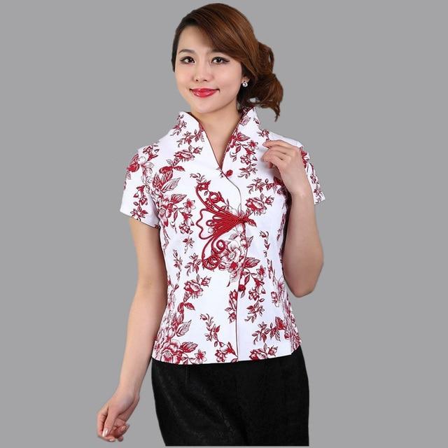 17ba4fdfc Summer New Red Flower Ladies' Cotton Shirt Chinese Women Flower Blouse  Novelty Button Tang Suit Top S M L XL XXL XXXL A0040