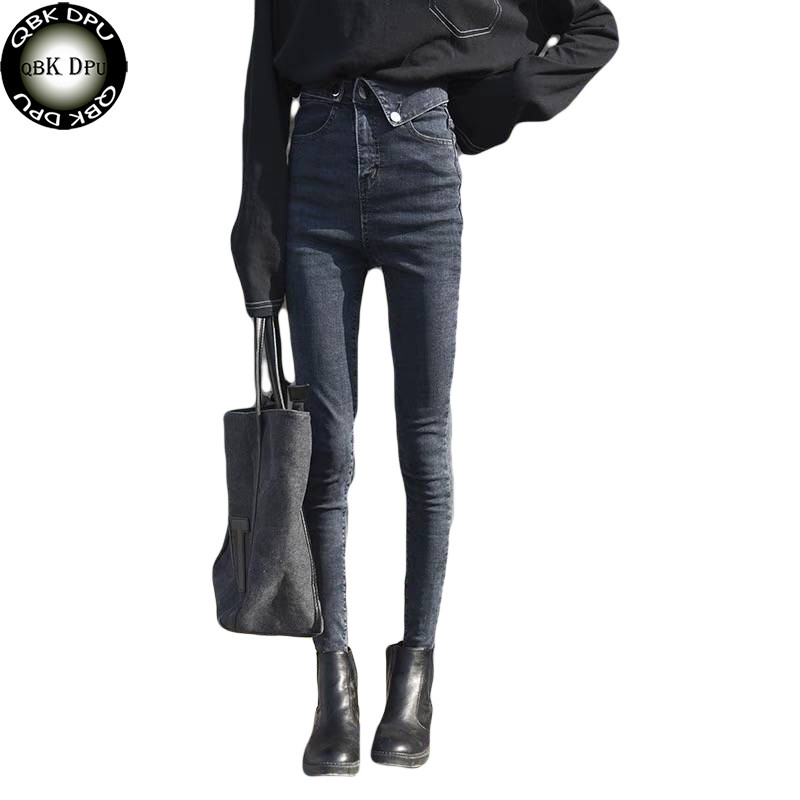 2019 New Slim Pencil Pants Vintage High Waist Jeans New Womens Pants Full Length Pants Loose Cowboy Pants Featured Waist Black