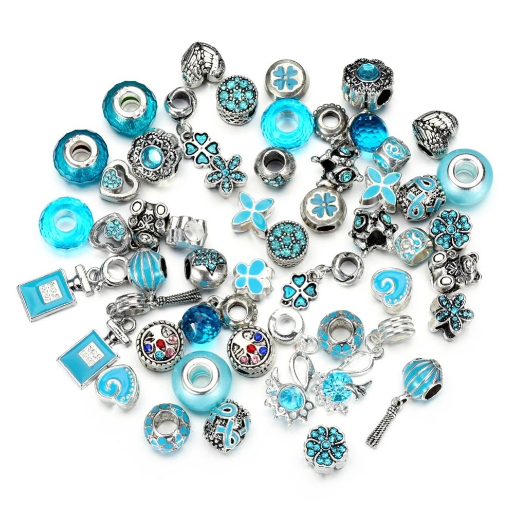 10 colors New 50pcs mix style lake blue color Silver r