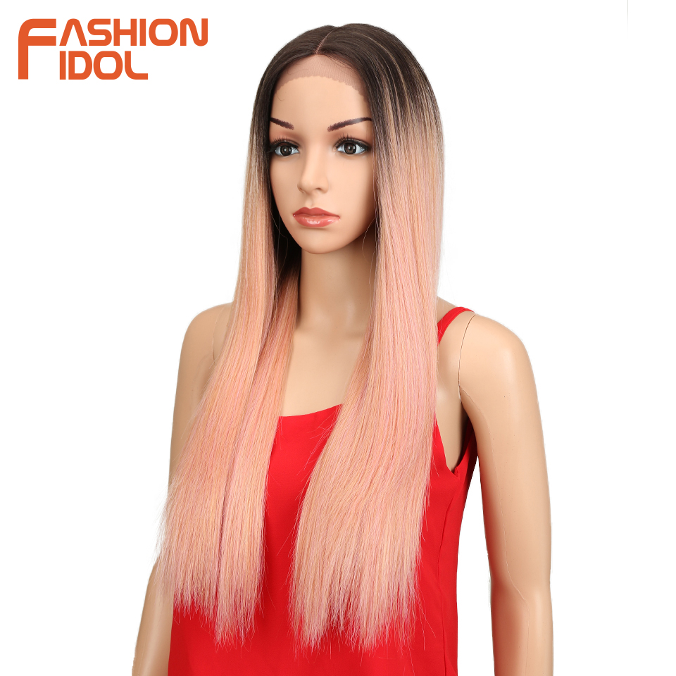 Image 4 - FASHION IDOL Synthetic Hair Lace Front Wig 26 Inch Long Straight Wig Ombre Black Pink Cosplay Wig Heat Resistant Synthetic Hair-in Synthetic Lace Wigs from Hair Extensions & Wigs