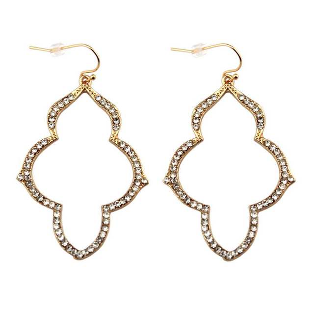2018 Gold Pave Crystal Arabesque Chandelier Earrings For Women Fashion Minimalist Stella Statement Jewelry Whole