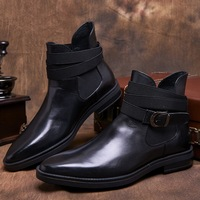 CH KWOK Autumn Winter Men Western Work Boots High Top Man Dress Oxfords Straps Band Buckles