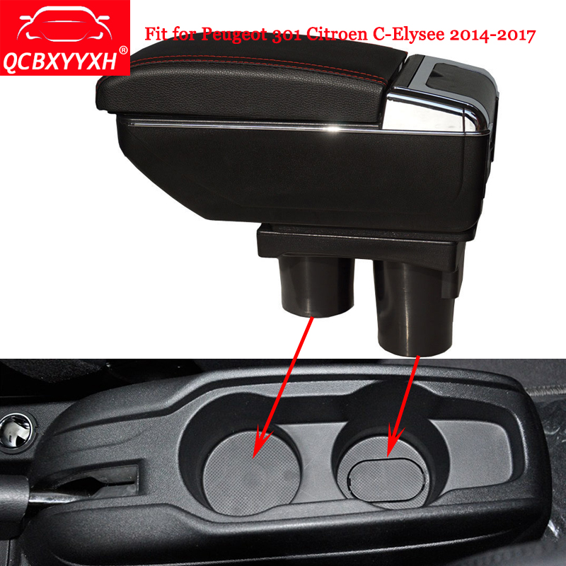 QCBXYYXH ABS For Citroen C-elysee Peugeot 301 2014-2016 Car Armrest Box Center Console Storage Box Holder Case Auto Accessories pu for citroen c elysee peugeot 301 2014 2016 armrest central store content storage box with cup holder ashtray accessories