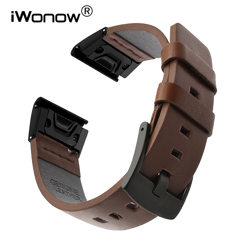 Quick Fit Genuine Leather Watchband 20/22/26mm for Garmin Fenix 6X Pro / 5X Plus / 6S / 5S / 6 / 5 / 3 / 3HR Watch Band Strap