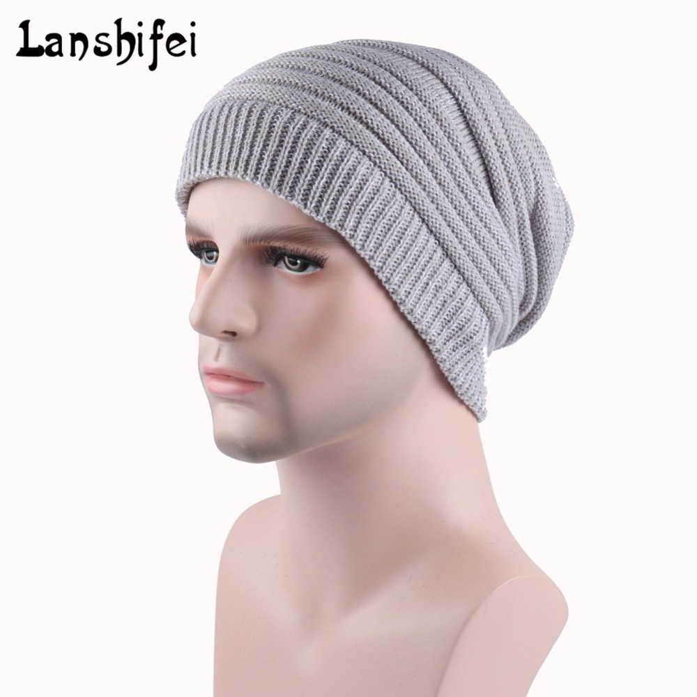 Hot Sale Unisex Knitting Hat Solid   Skullies     Beanies   Warm Winter Snow Caps For Man and Women Thick Slouchy Knit   Beanie   Cap Hats