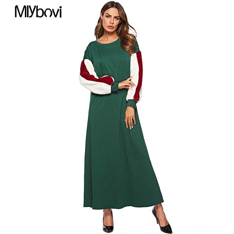 Femmes vert tricoté Robe o-cou à manches longues Robe musulmane Patchwork lâche dames robes décontracté Maxi Femme islamique Robe Clothin