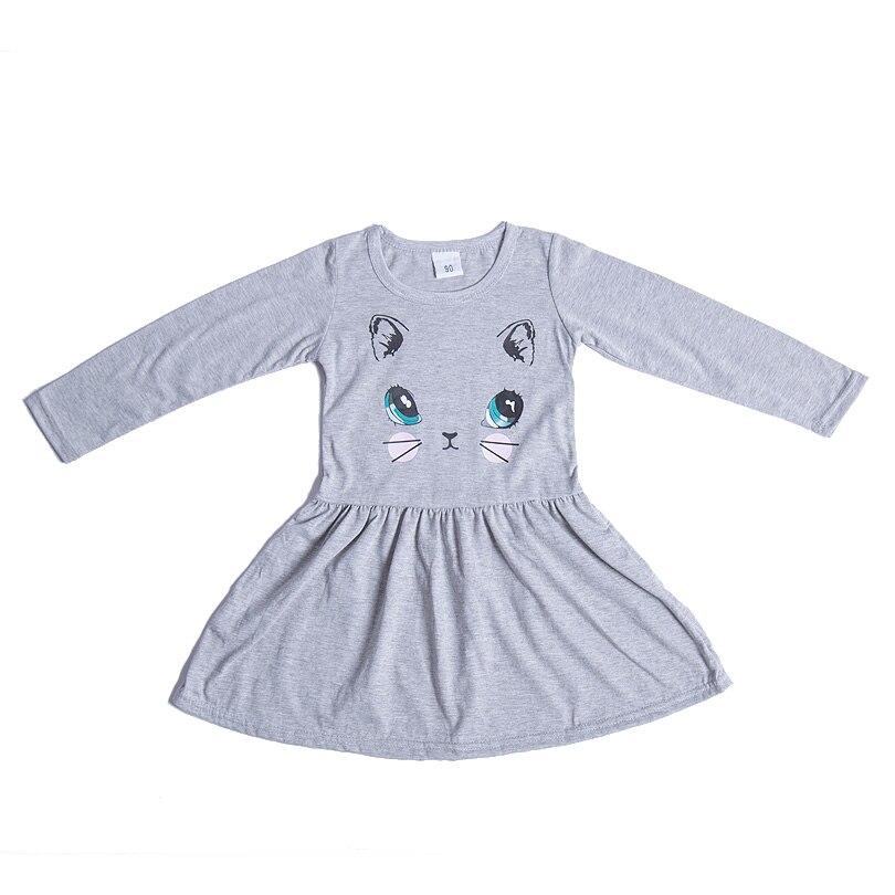 HTB1ZUz3X6zuK1RjSspeq6ziHVXam Princess Girls Dress New Fashion summer Cat Print Children Long Sleeve Cartoon baby girl Cotton Party Dresses for kids