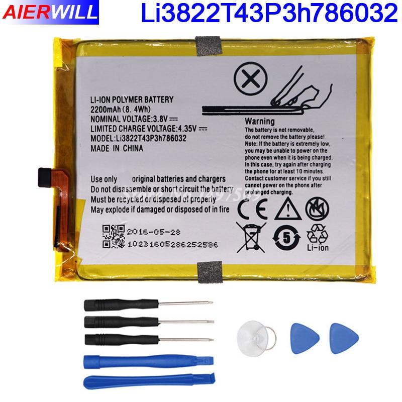 Li3822T43P3h786032 Orbic Orbic-RC-501L Battery For ZTE Blade V6 For ZTE Blade D6 For ZTE Blade X7 Batterie Bateria 2200mAh+Tools