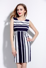 high quality 2016 Fashion women's woman office ladies style summer womens cute brand sleeveless striped dress dresses clothing