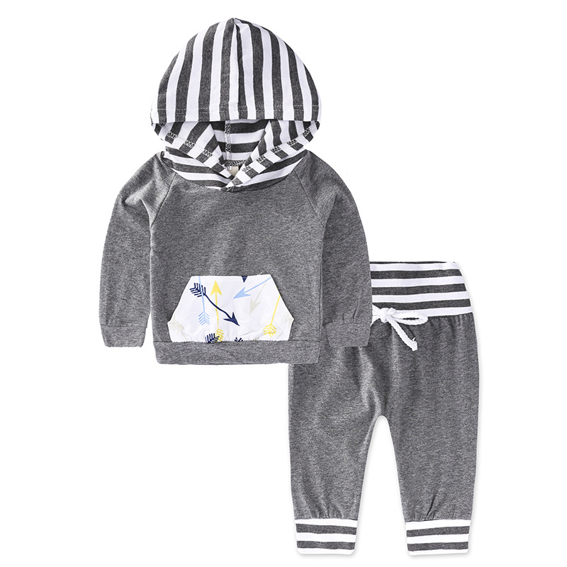 Gray Infant Baby Boys Girls Set Casual Boys Sports Suit Cotton Long Sleeve Autumn Baby Clothes