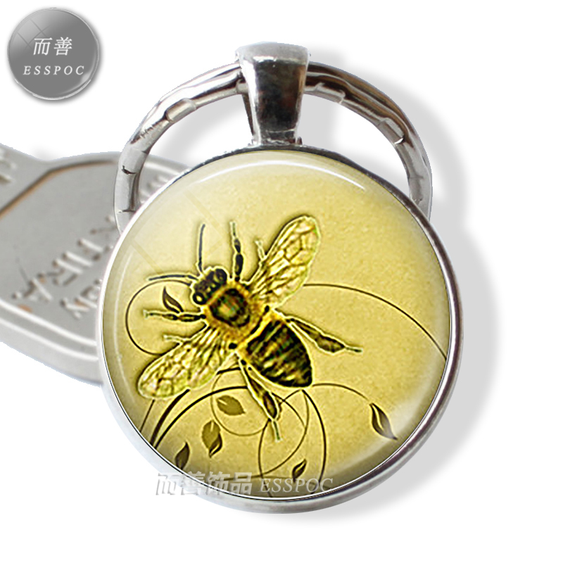 Fashion Honeybee Keychain Honey Bee Cabochon Glass Keyring Honey Bee Jewelry Beekeeper Gift Apiarist Pendant Key Chain Key Ring