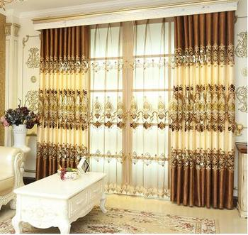 Curtain cloth, finished French window, European style court living room, hollow embroidery, luxurious customization, high-grade