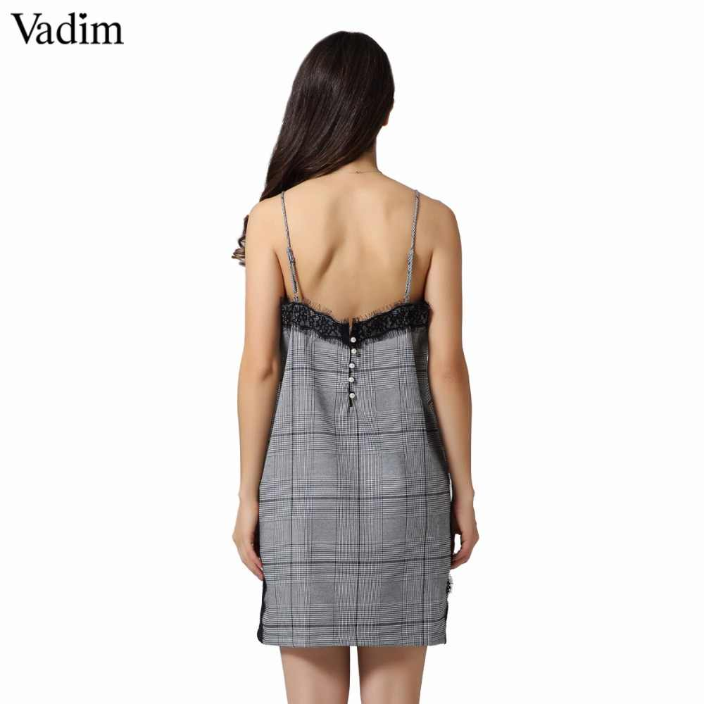 Vadim стильное кружевное лоскутное клетчатое платье с жемчугом на бретельках с регулируемой застежкой, цельнокроеные платья vestidos QZ3278