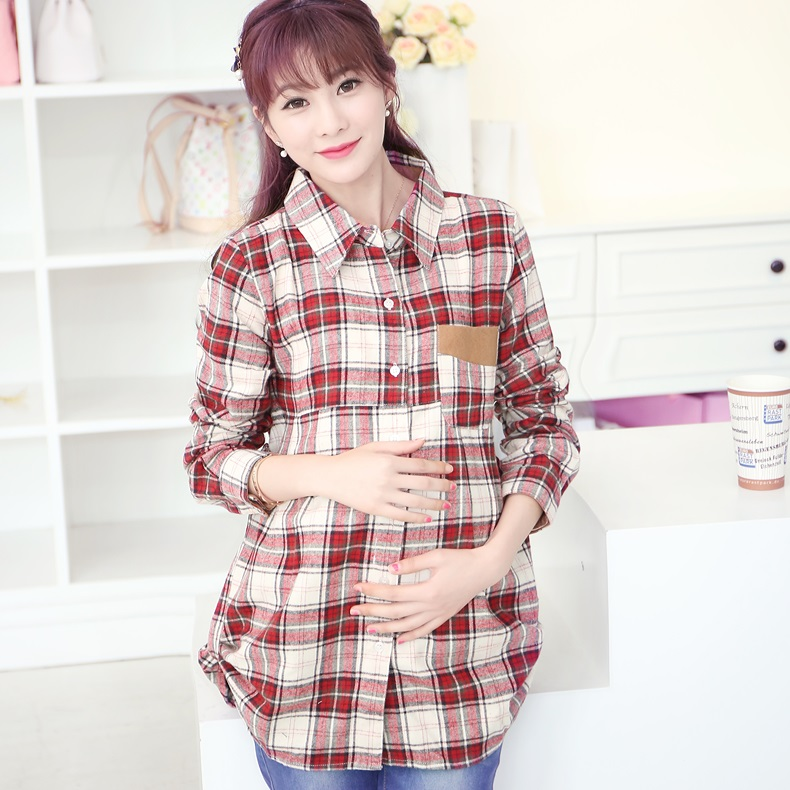 ФОТО New arrival 2017 Maternity plaid blouse spring autumn pregnant woman top fashion long-sleeve plaid shirt
