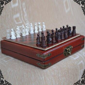 Chess Set Collection Board Games Vintage Chinese Terracotta Warriors Chessman-Travel Flower Bird Board