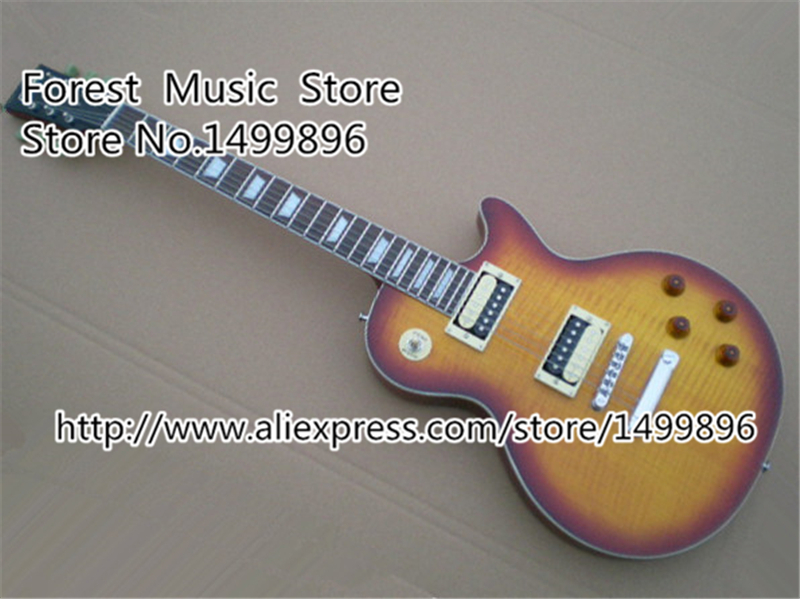 Musical Instrument Vintage Sunburst Tiger Flame Guitars Body LP Standard Model Electric Guitar China Lefty Available hot selling matte tiger flame finish lp standard electric guitars with solid mahogany guitar body in stock