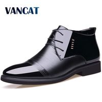 Vancat 2018 New Designer Men Boots Microfiber Men Winter Shoes Wool Inside Warm Snow Boots Black Man Leather Ankle Boots