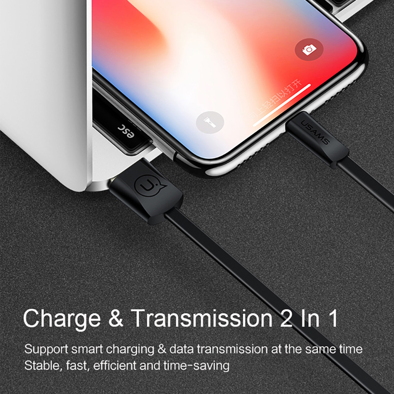 Image 5 - USAMS USB Cable Fast Charging Mobile Phone Cable for iPhone XS XR 2A Charging Data Sync Cord for iPhone 8 iPad Cable for iOS 12-in Mobile Phone Cables from Cellphones & Telecommunications