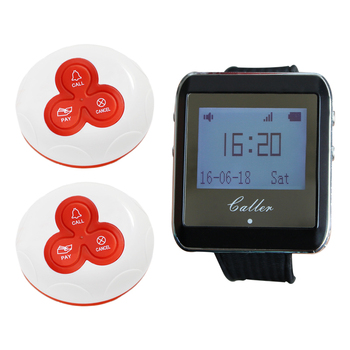 1 Watch Pager Receiver+2 Call Button 433MHz Wireless Restaurant Pager Calling System Restaurant Equipment