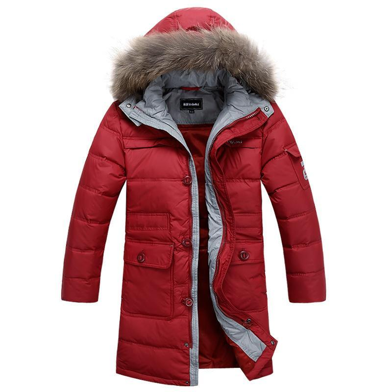 ФОТО Size 130-160 Big Boy Outdoor Winter Down Jacket Good Quality Kids Coat Hooded Design Children Fashion Casual Thick Outerwear