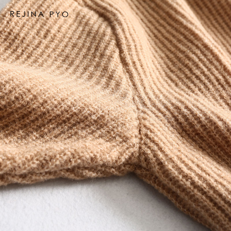 REJINAPYO 15 Color Women Fashion Solid Casual Knitted Sweater Female Turtleneck Oversized Pullover Ladies Elegant Loose Sweater 18