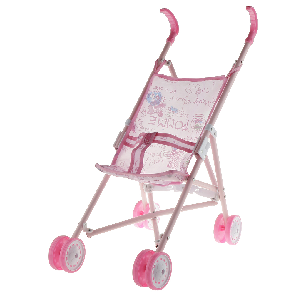 Foldable Pink Cartoon Pattern Printed Baby Doll Stroller