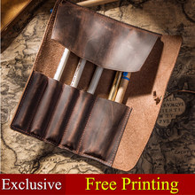 Genuine Leather Pencil Case Pencil Holder Leather Stationary Pouch For Students And Artists School Office Chancery