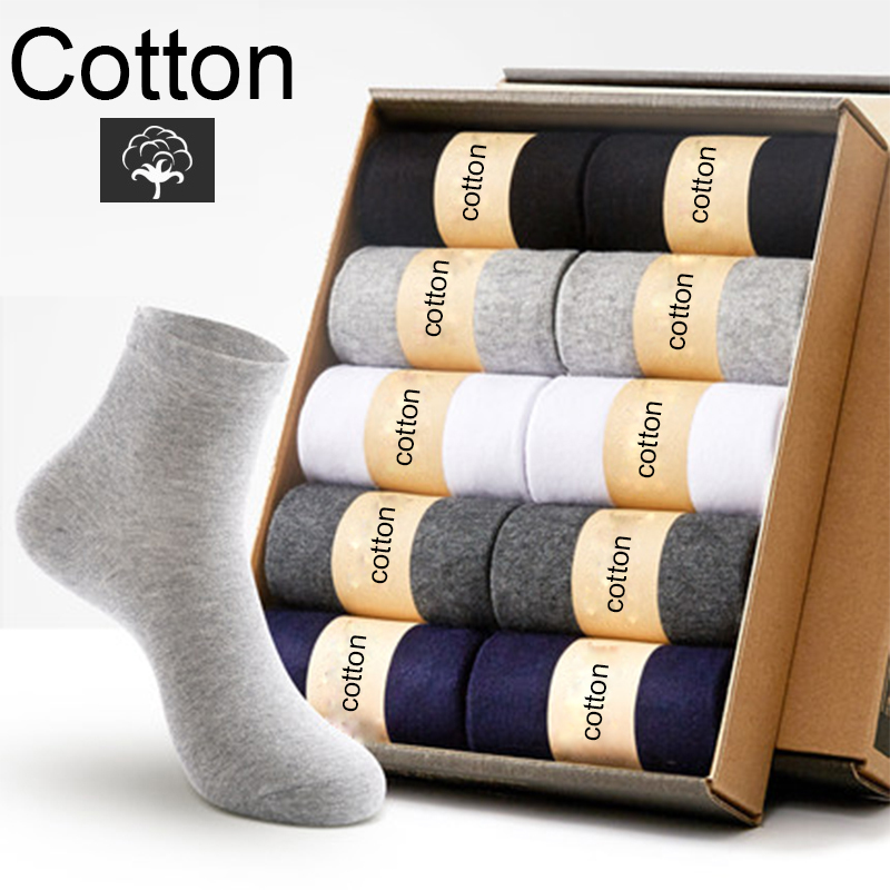 10 Pairs/Lot High Quality Men's Cotton Socks Black Business Men Socks New Breathable Autumn Winter For Male Solid Color 2019