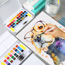 Bgln solid watercolor brush set 36 color gouache portable tin box transparent toolbox packaging paint set art supplies