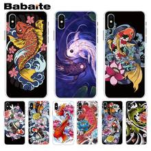 Babaite Japanese Japan Tattoo Koi Fish Plastic Phone Accessories Case For iphone 5 5s 5c SE And 6 6s 7 7plus 8 8plus Phone Case(China)