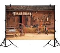 5x7ft Barn Cow Haystack Bike Farm Tools Wood Hut Cabin Polyester Photo Background Portrait Backdrop