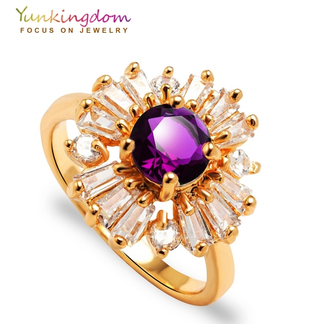 Yunkingdom new arrive Wedding Rings for women  zircon crystal jewelry Gold Color flowers style ring 6 colors