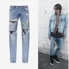 Fear of God Best Version Men Selvedge Zipper Destroyed Torn Pants Skinny Jeans Blue Jean Slim Fit Justin Bieber God of Fear