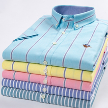 Dress Shirts Short-Sleeve Pink Pure-Cotton Business Oxford Yellow Stripe Casual Fashion