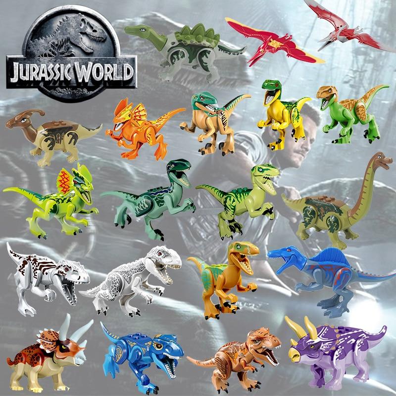 Legoing Jurassic Park Dinosauri Tyrannosaurus Rex Mini Singolo di Vendita del Capretto Del Bambino Set di Blocchi di Costruzione di Modello Giocattoli Per I Bambini