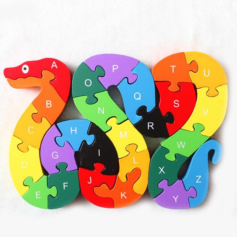 Hot Baby Kids Speelgoed voor Kinderen Leren 26 Engels Alfanumerieke Mooie Snake Vorm Houten Educatief Fun Game Geschenken